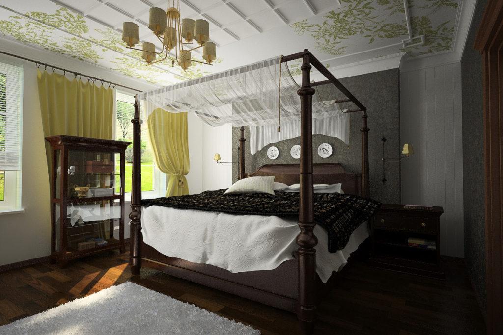 Небольшой декоративный прозрачный балдахин на раме кровати