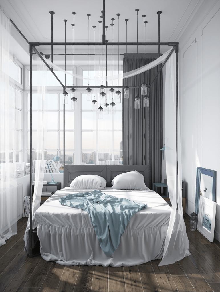 Серый балдахин над кроватью