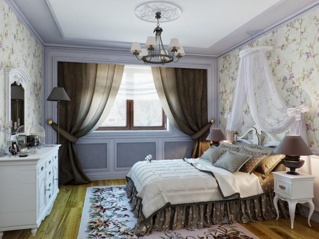 Прозрачный балдахин в спальне в стиле прованс
