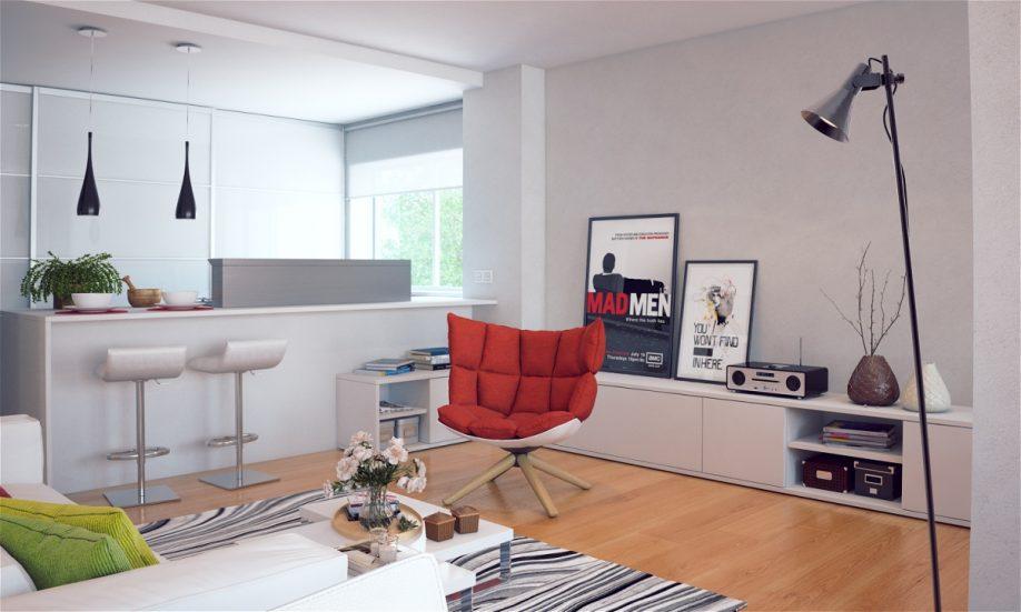 Барные стулья в интерьере кухни-гостиной
