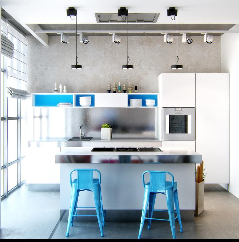 Голубые барные стулья на светлой кухне