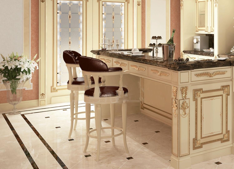 Классические барные стулья для кухни из кожи и дерева