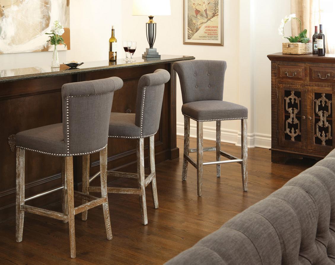 Четырехногие барные стулья с мягкими сидениями