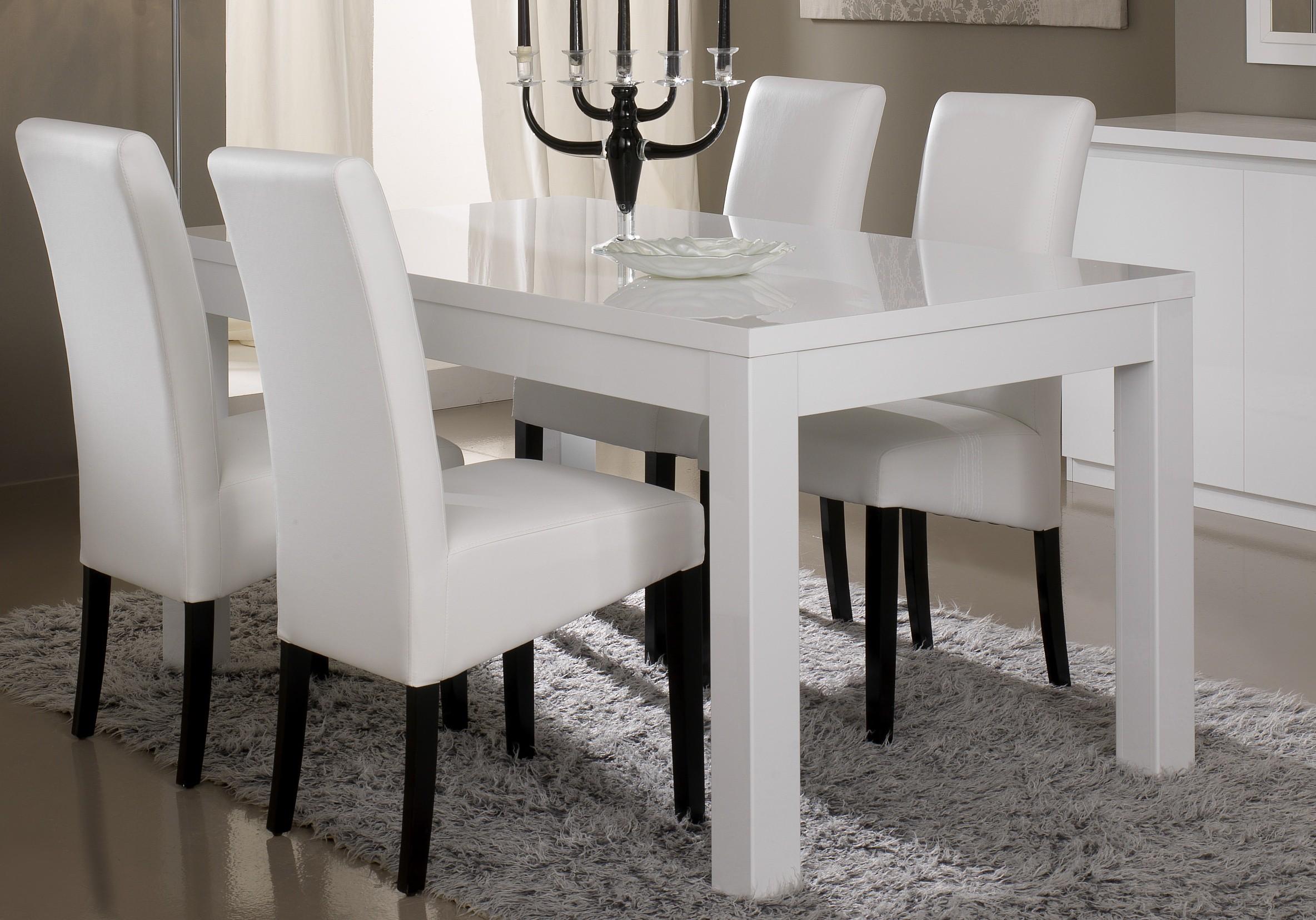 Белый глянцевый обеденный стол