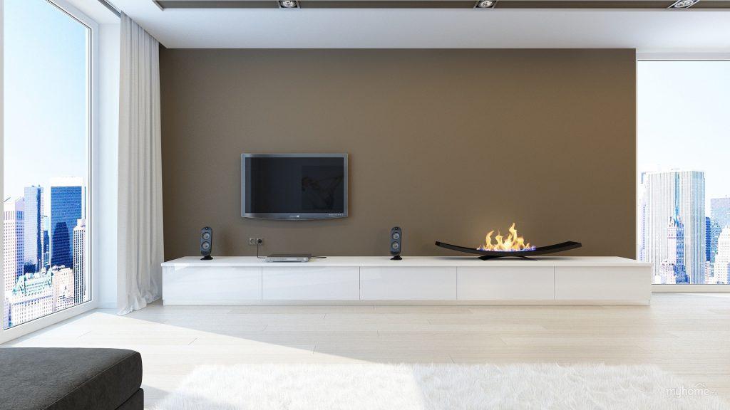 Бежевый, коричневый и белый цвета в интерьере большой гостиной