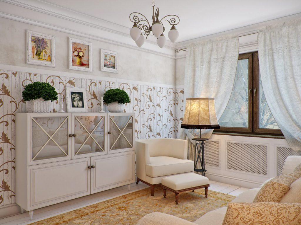 Бежевый, золотистый и белый цвета в интерьере гостиной в стиле прованс