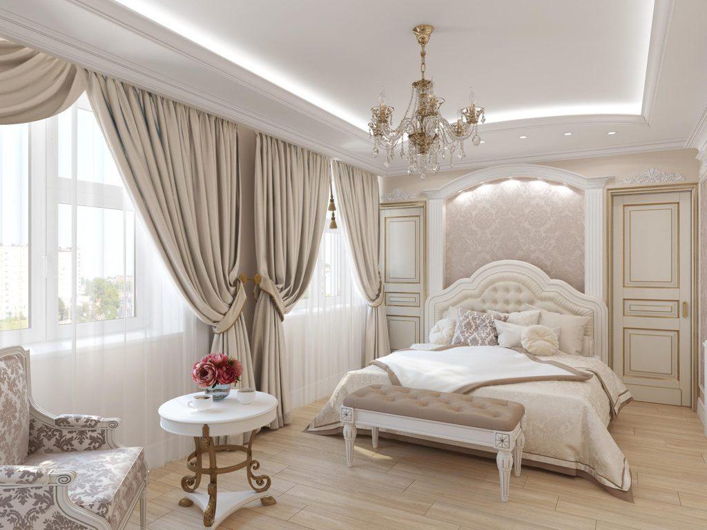 Бежевый, коричневый и белый цвета в интерьере классической спальни