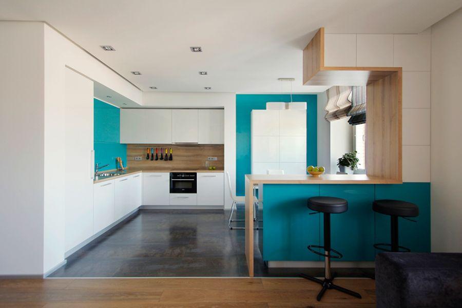 Цвет морской волны в интерьере кухни