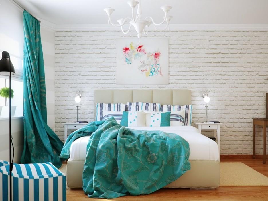 Светлый интерьер спальни с бирюзовыми акцентами