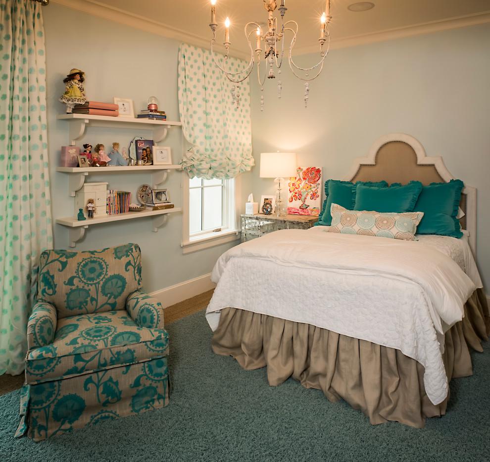 Дизайн штор для детской комнаты с бирюзовым принтом