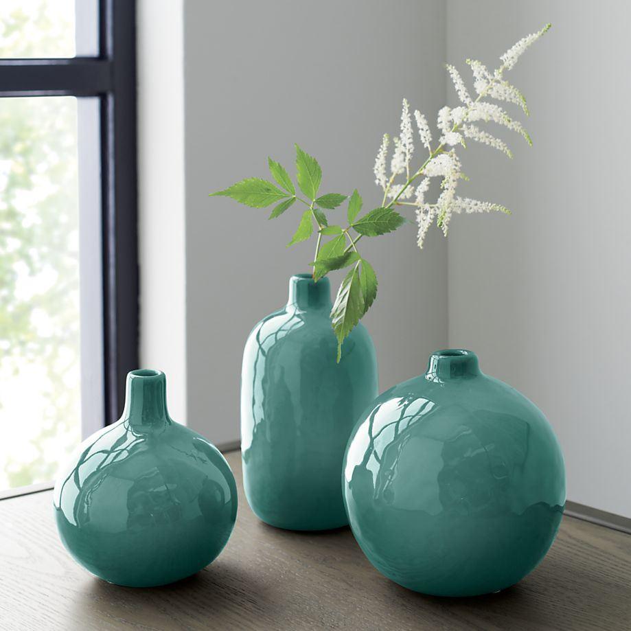 Бирюзовая напольная ваза