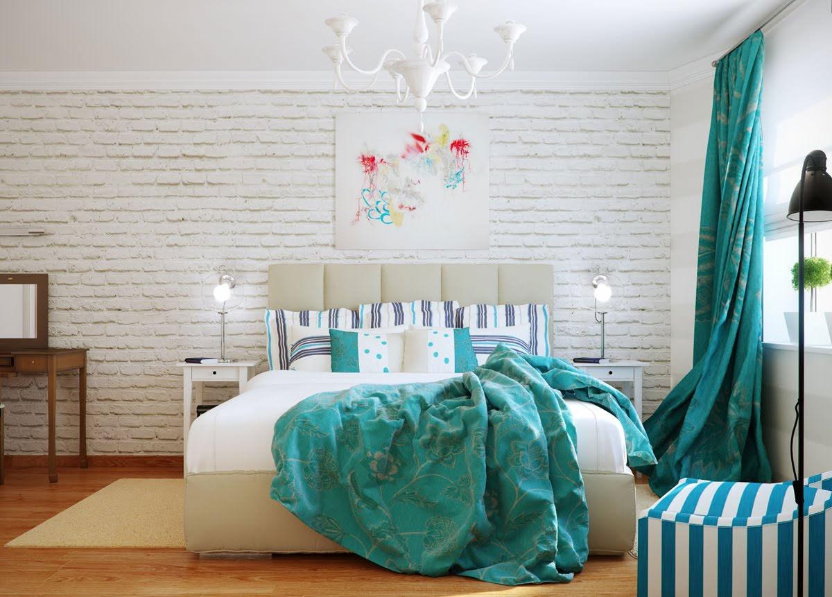 Голубовато-синий оттенок бирюзового в спальне