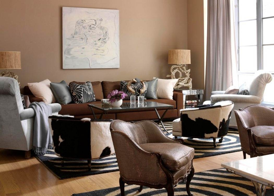 Сочетание коричневого цвета с черным в интерьере