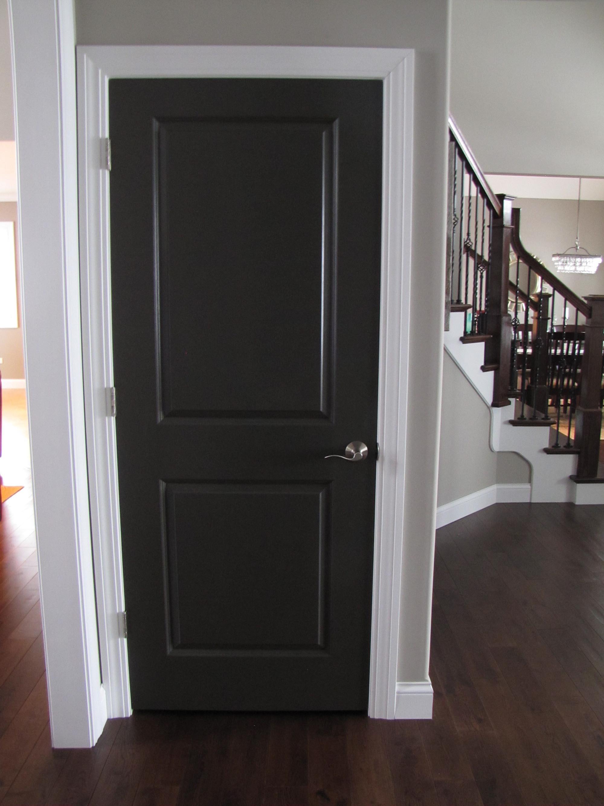 Черная дверь и темно-коричневый ламинат в комнате