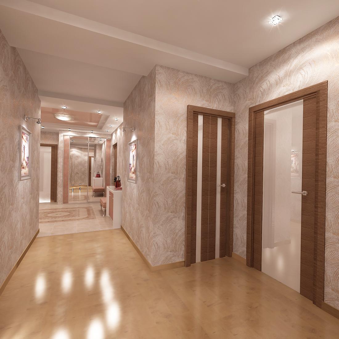 Коричневые двери и бежевый ламинат в коридоре