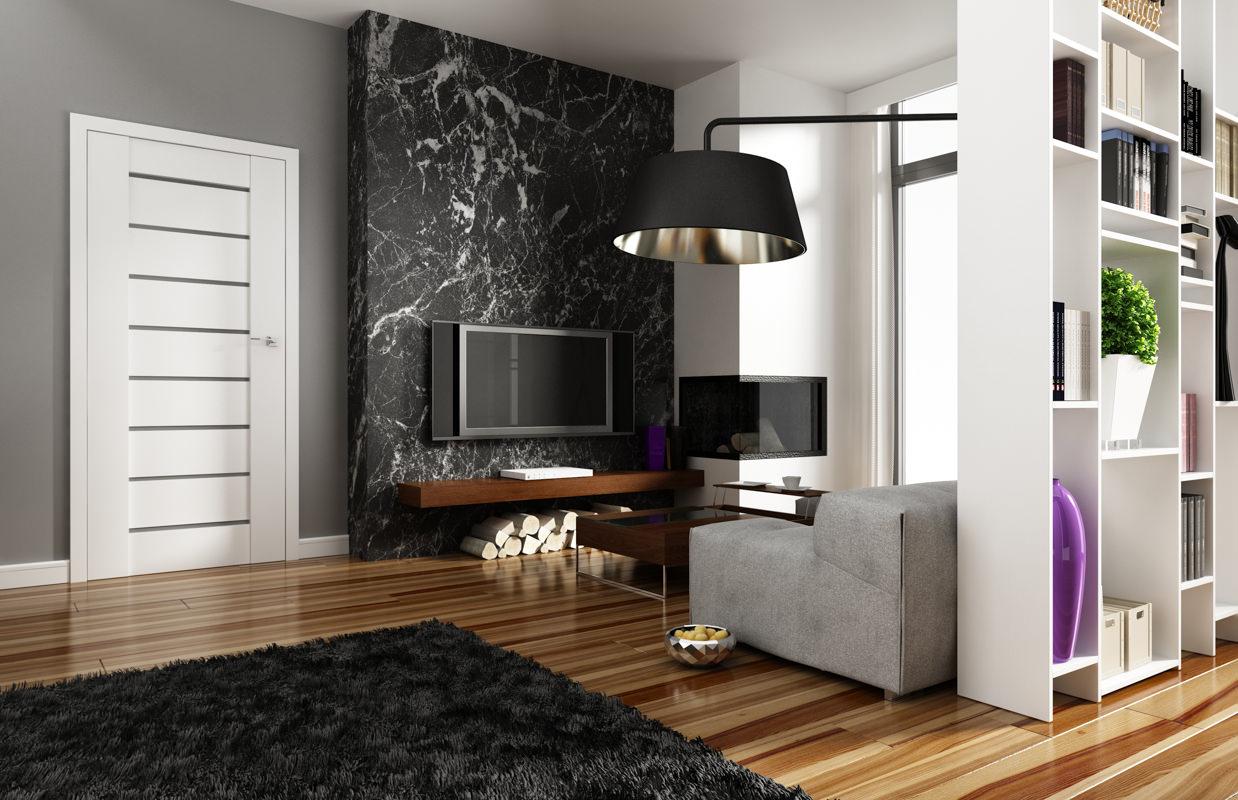 Белые двери и коричневый ламинат под дерево в квартире