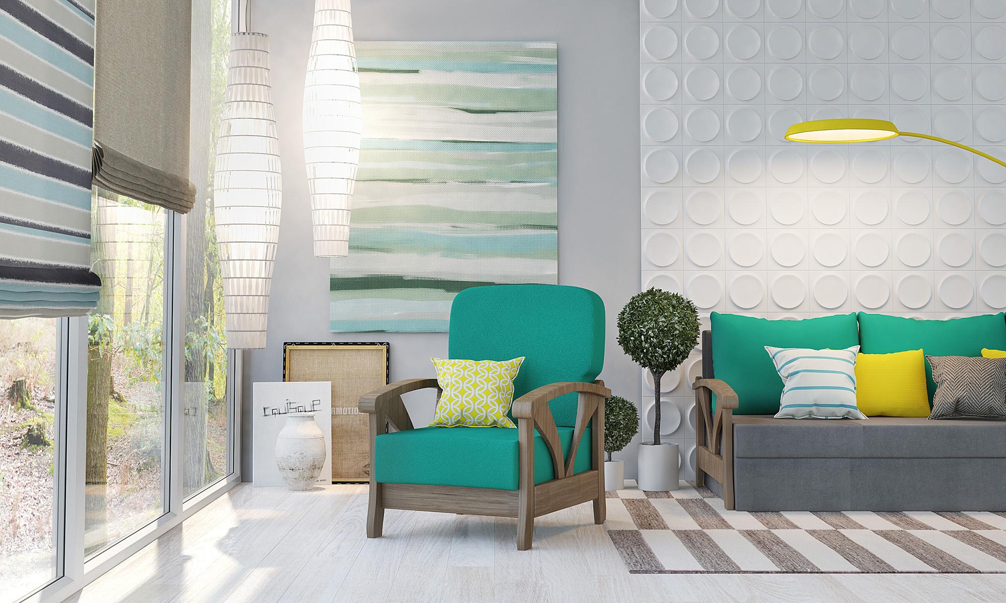 Яркие декоративные подушки в светлой гостиной