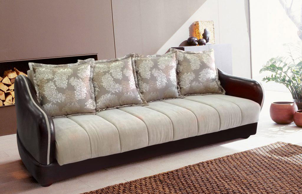 Кремово-коричневый диван