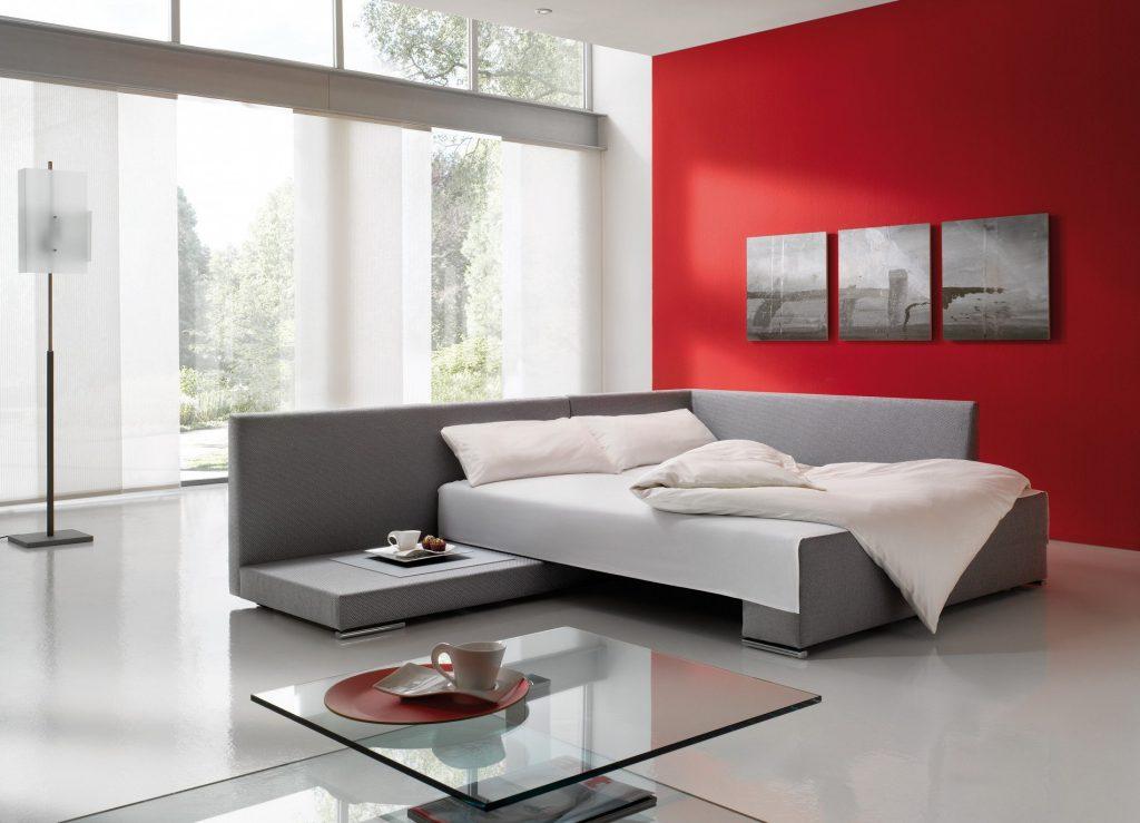 Серый угловой раскладной диван для гостиной