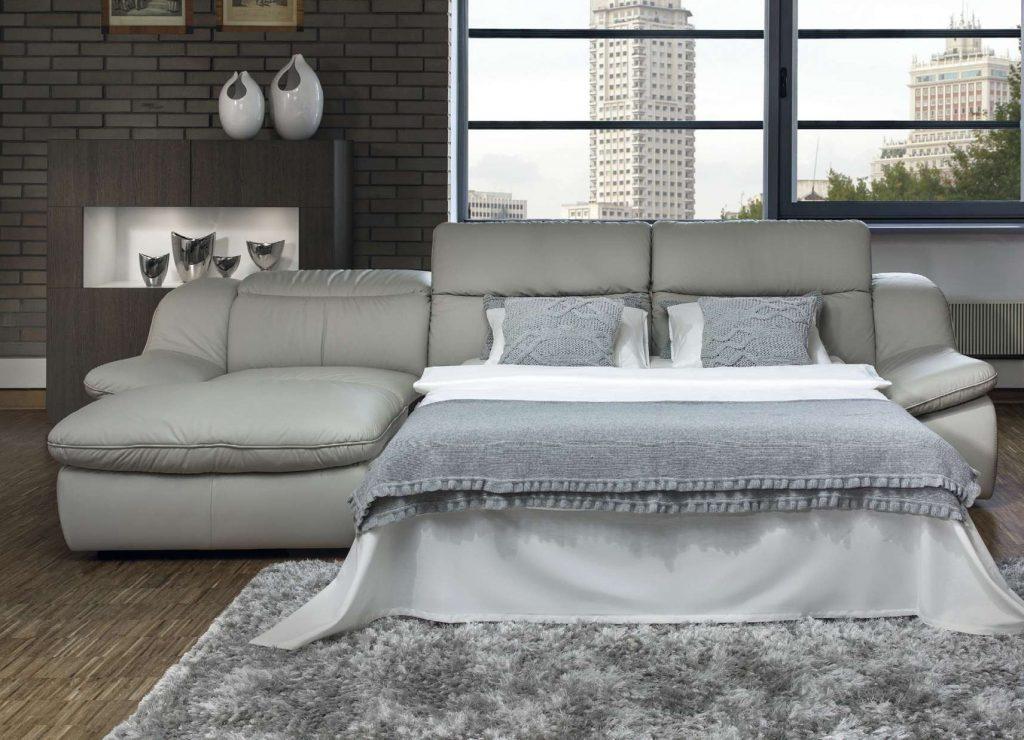 Серый кожаный модульный диван-кровать