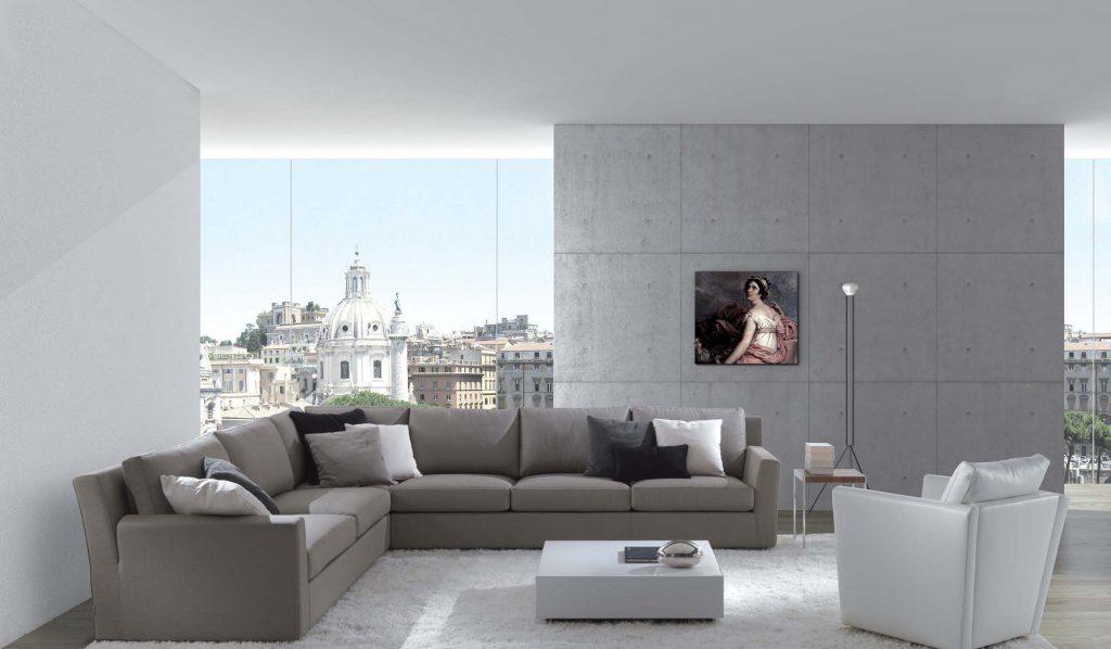 Темно-серый угловой диван в урбанистическом интерьере