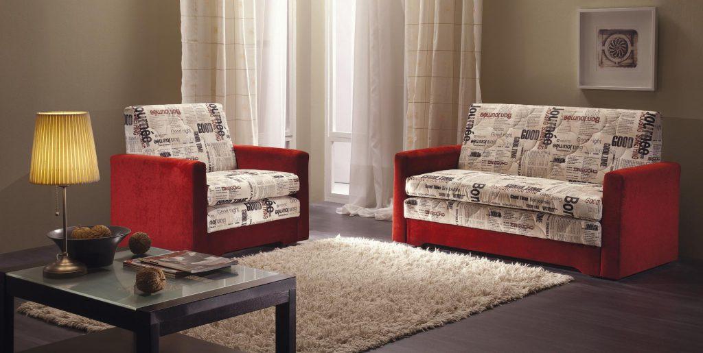 Красно-белые мини диваны для гостиной