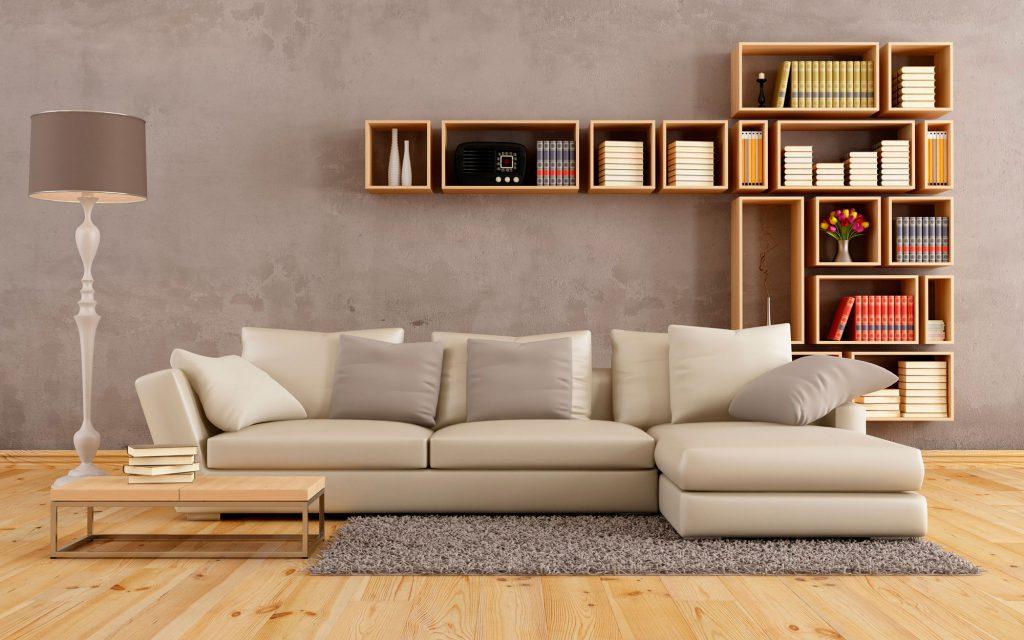 Бежевый угловой диван для гостиной
