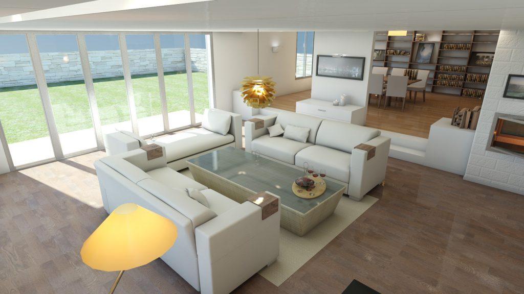 Белые диваны с удобными подставками в зоне гостиной