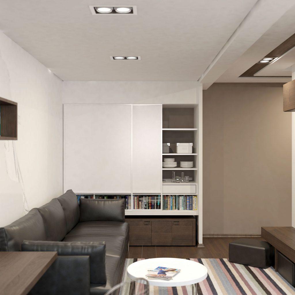 Черный кожаный диван для небольшой комнаты