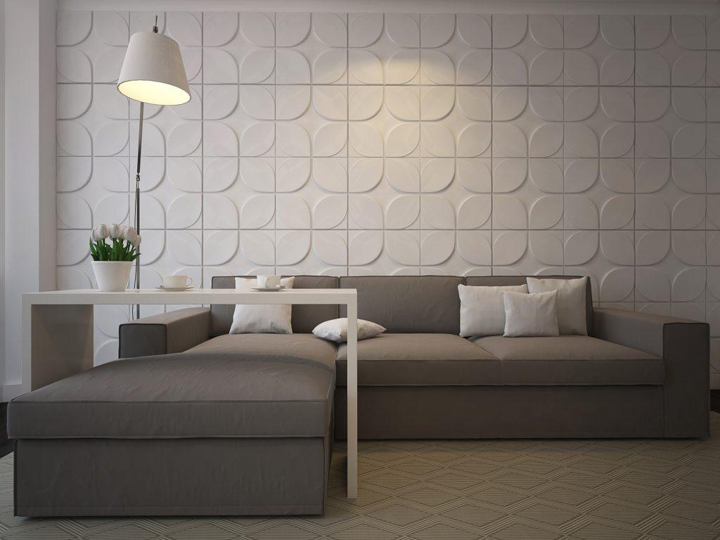 Просторный темно-серый диван