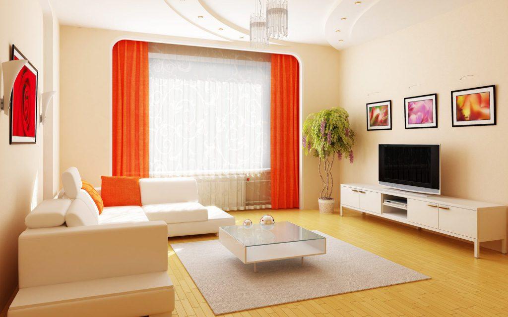 Белый угловой диван в светлой гостиной