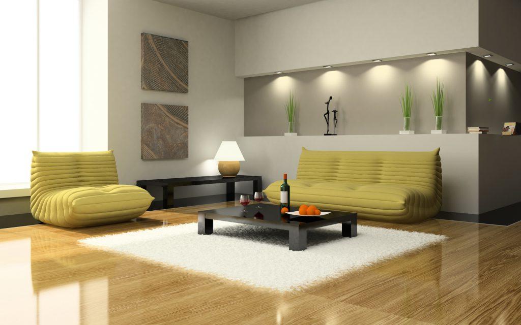 Желто-зеленые мини диваны для гостиной