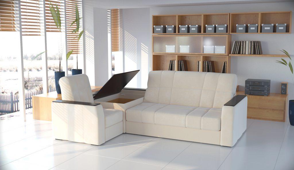 Кремовый диван с вместительным отделением и полками