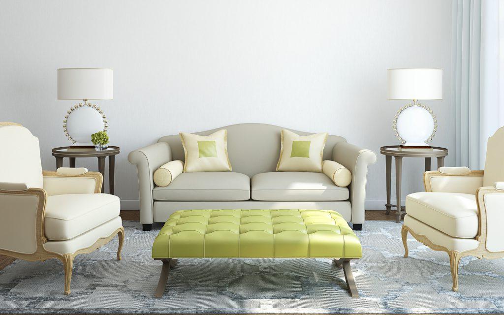 Бежево-серый диван в гостиную