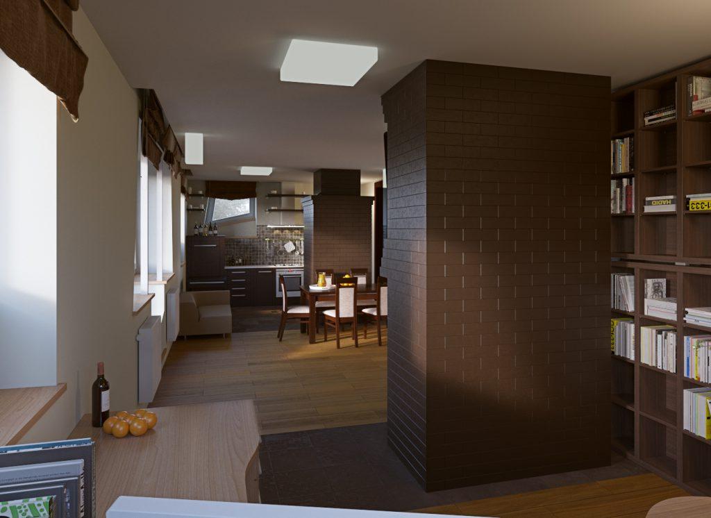 Современный интерьер гостиной и кухни