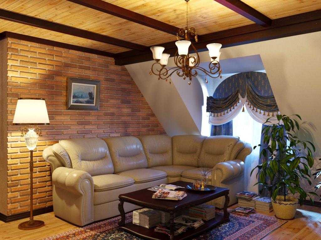 Интерьер гостиной с кирпичной стеной на даче