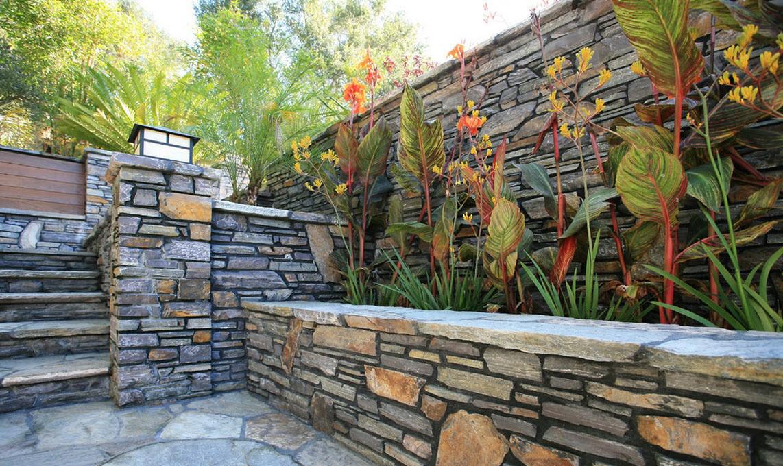 Каменная отделка и растения во дворе