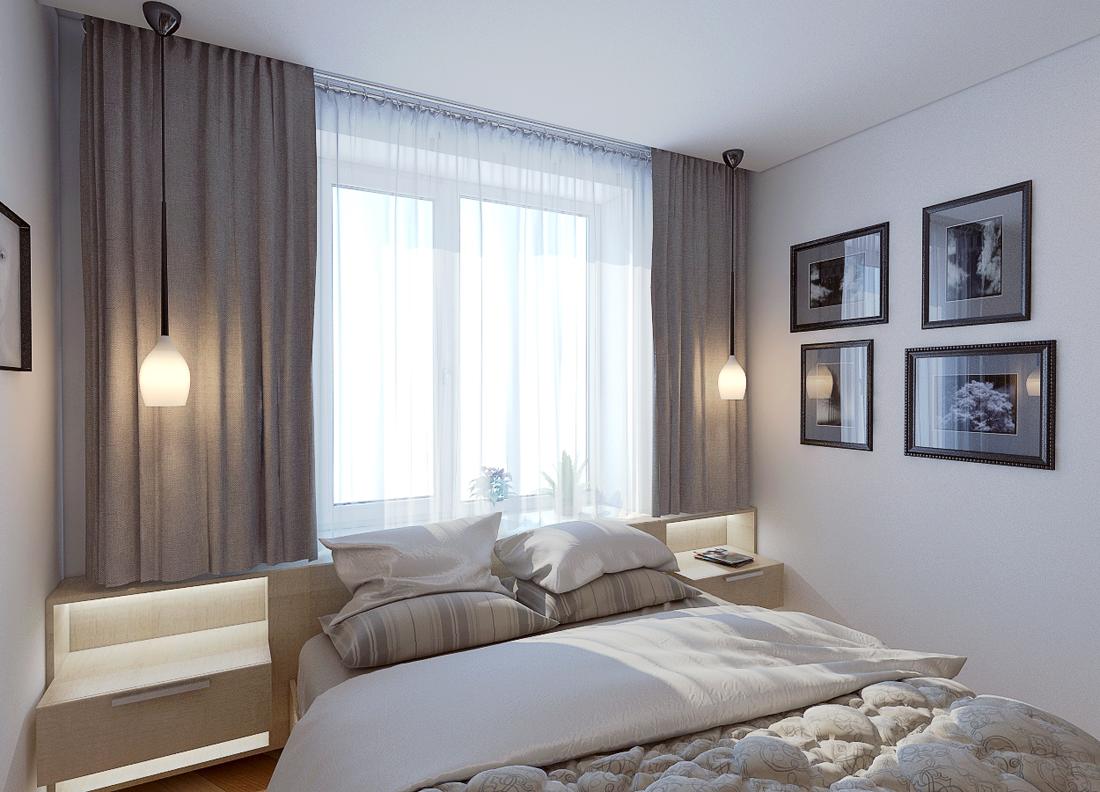 Серо-белая маленькая спальня