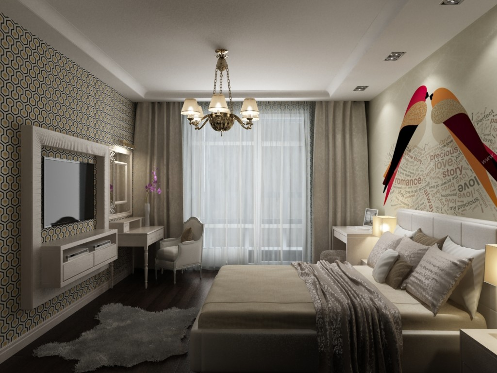 Небольшая спальня в спокойных тонах с телевизором