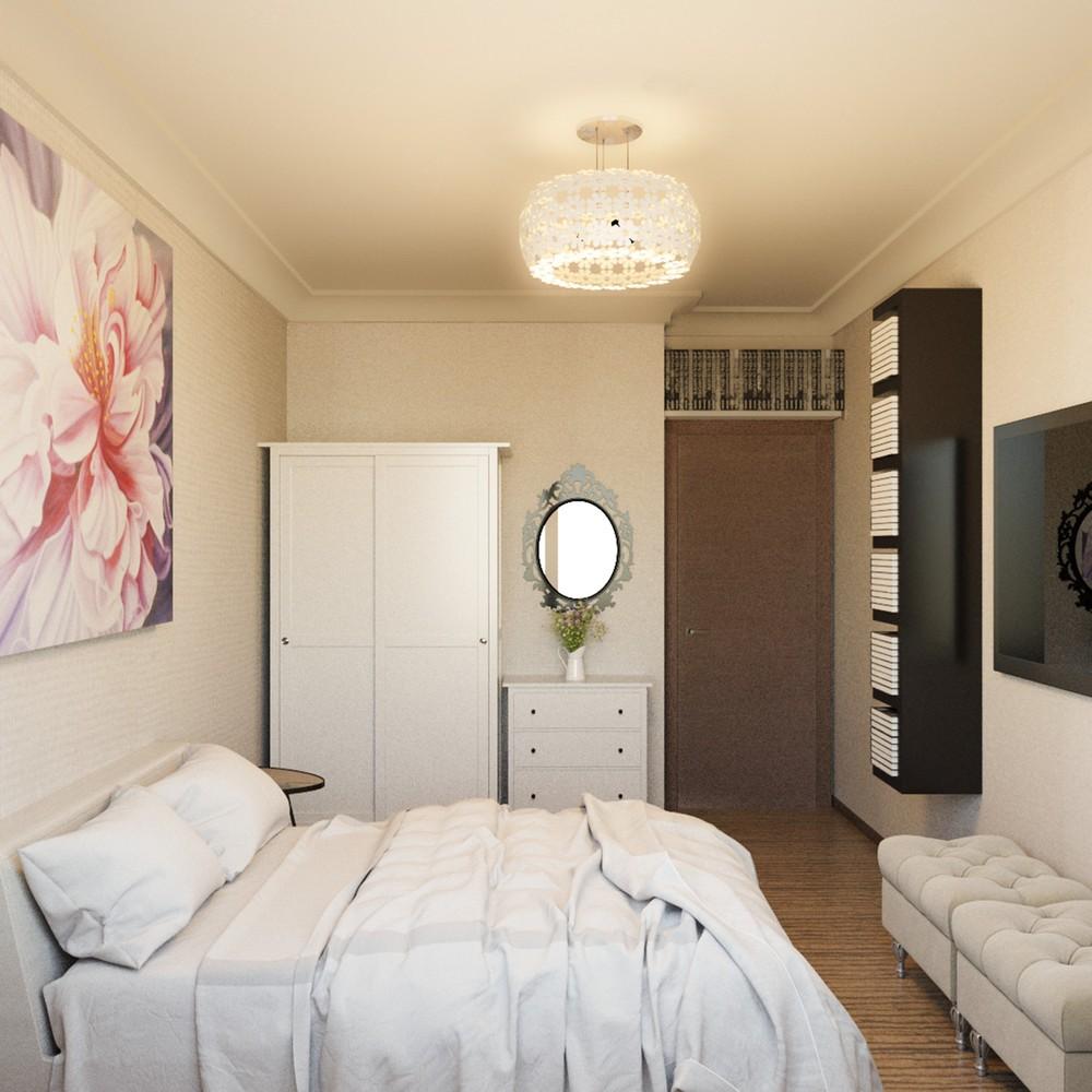 Небольшая кремовая спальная комната