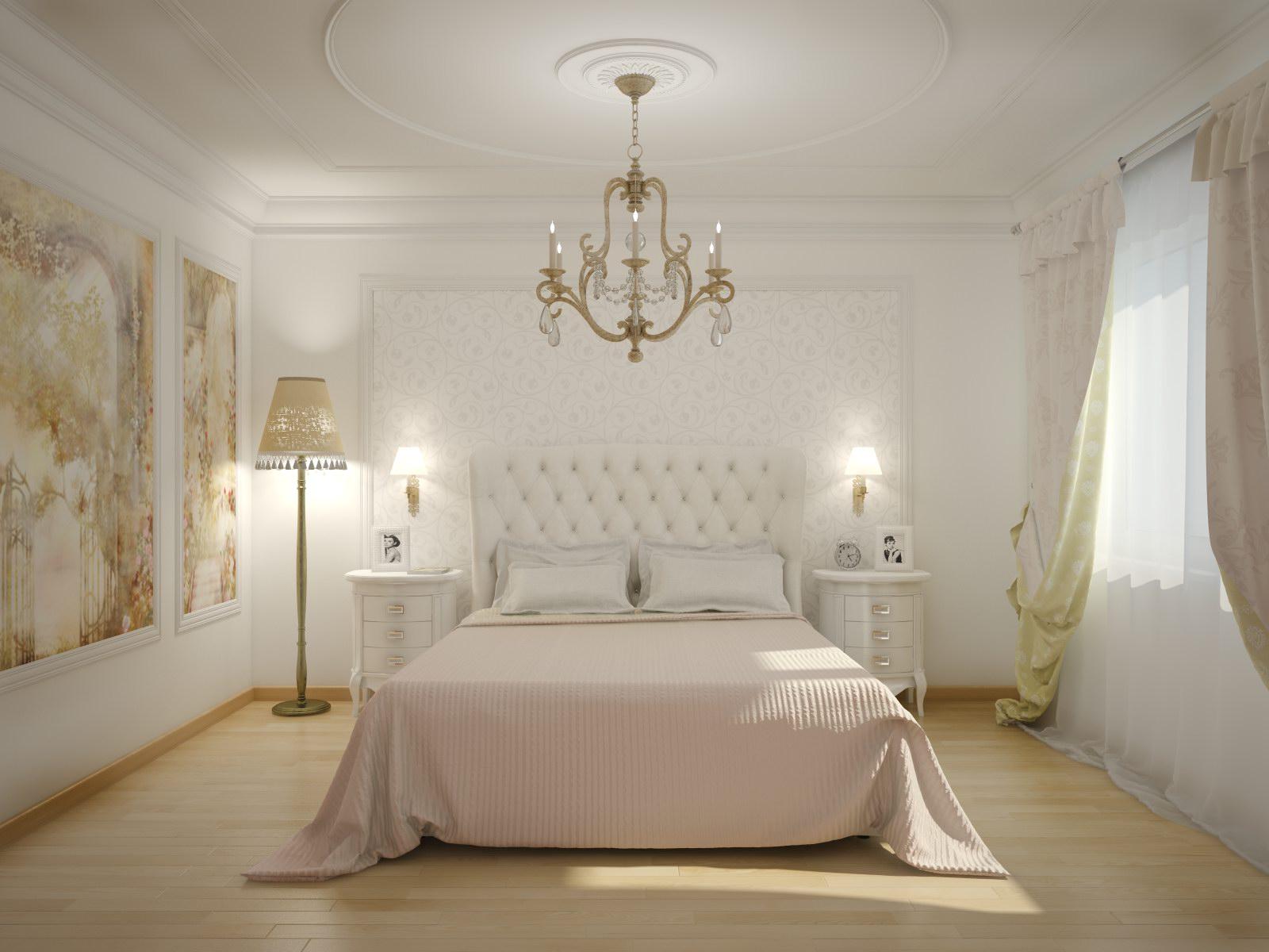 Комбинирование светлых обоев в небольшой классической спальне