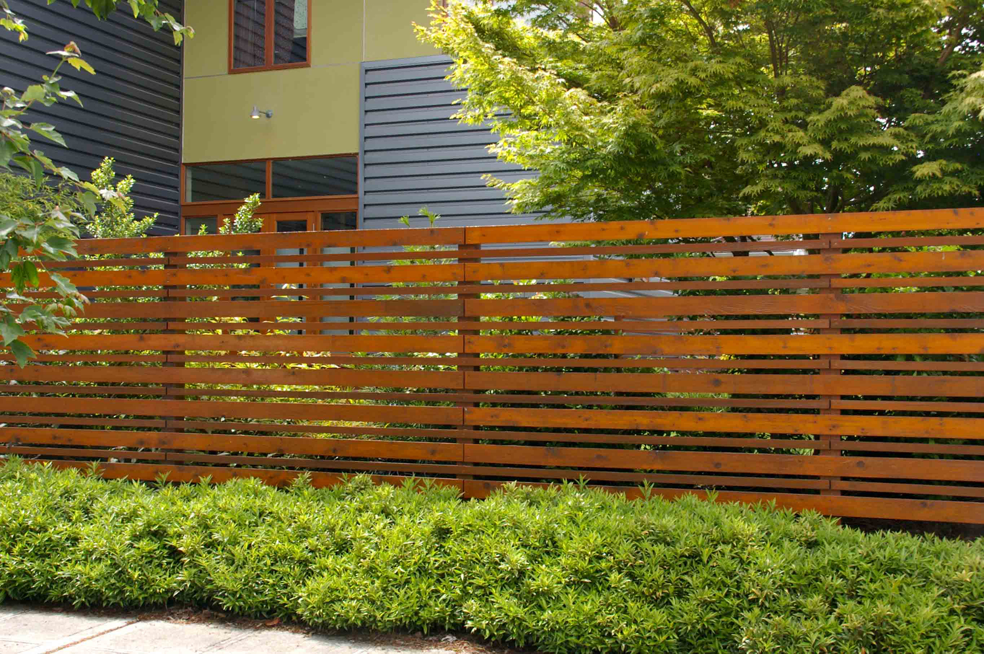 Современный деревянный забор на участке