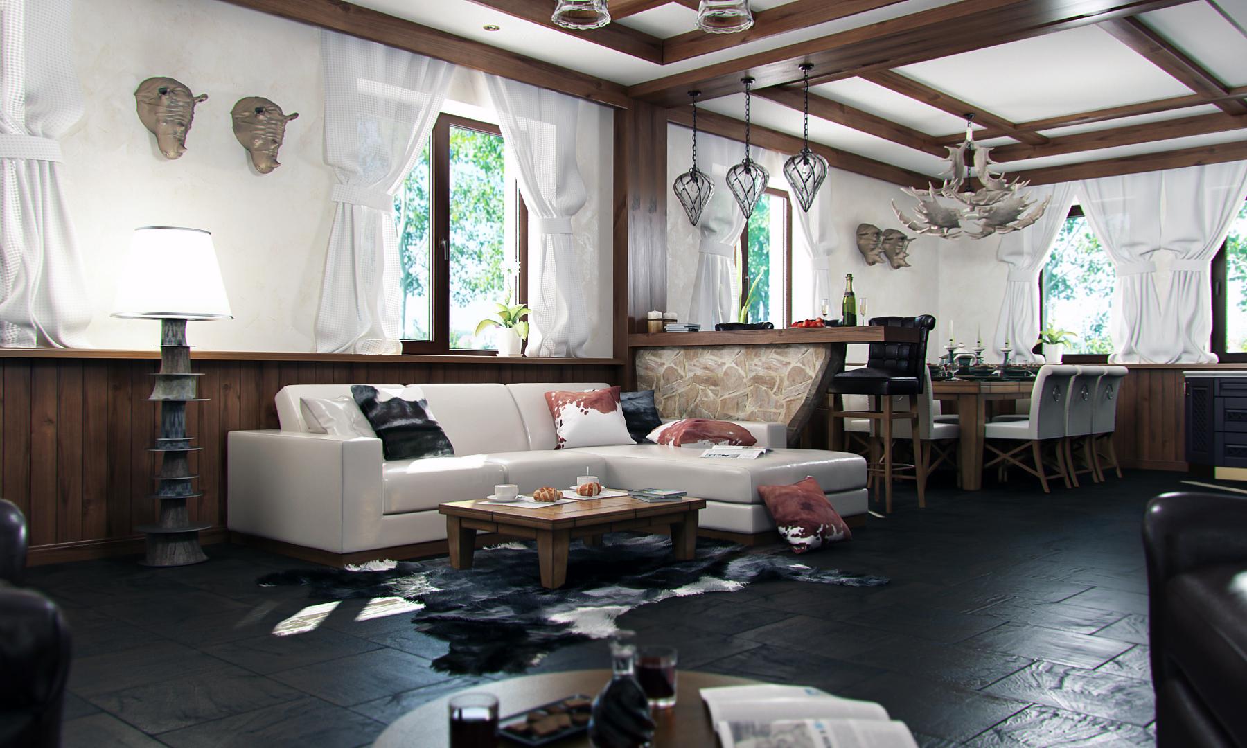 Просторная гостиная с белыми стенами в стиле шале