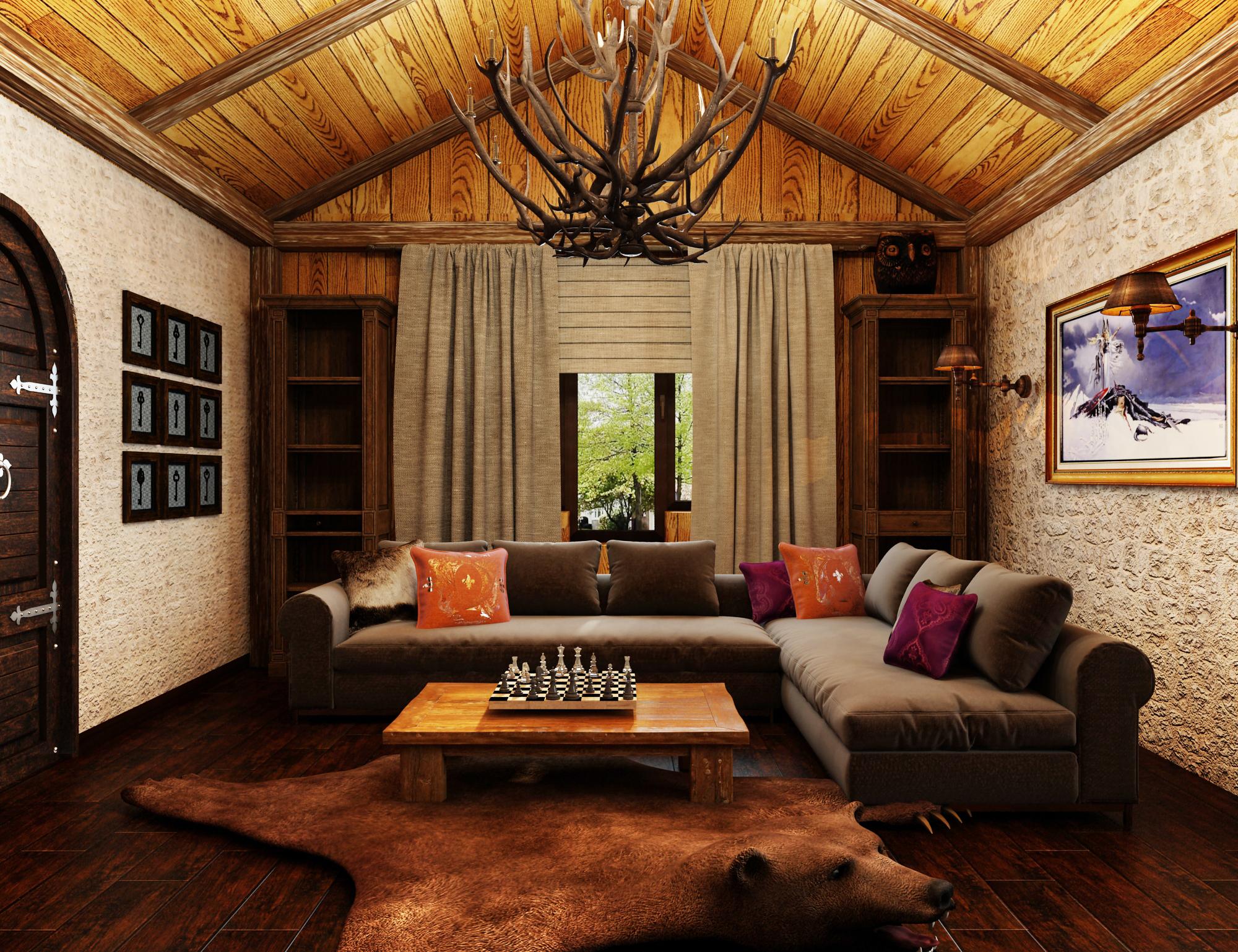 Проект небольшой гостиной в стиле шале