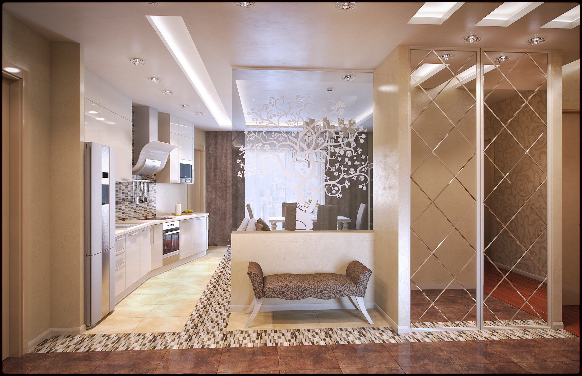 Кремовый потолок в прихожей с разным освещением