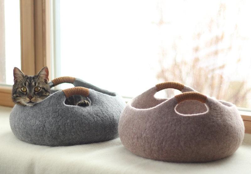 Валяные корзины-лежанки для кошек