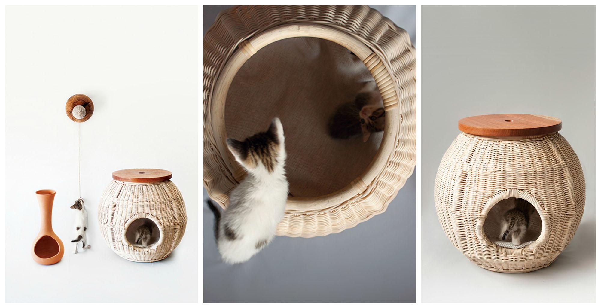 Плетеный домик-корзинка с крышкой для кошки