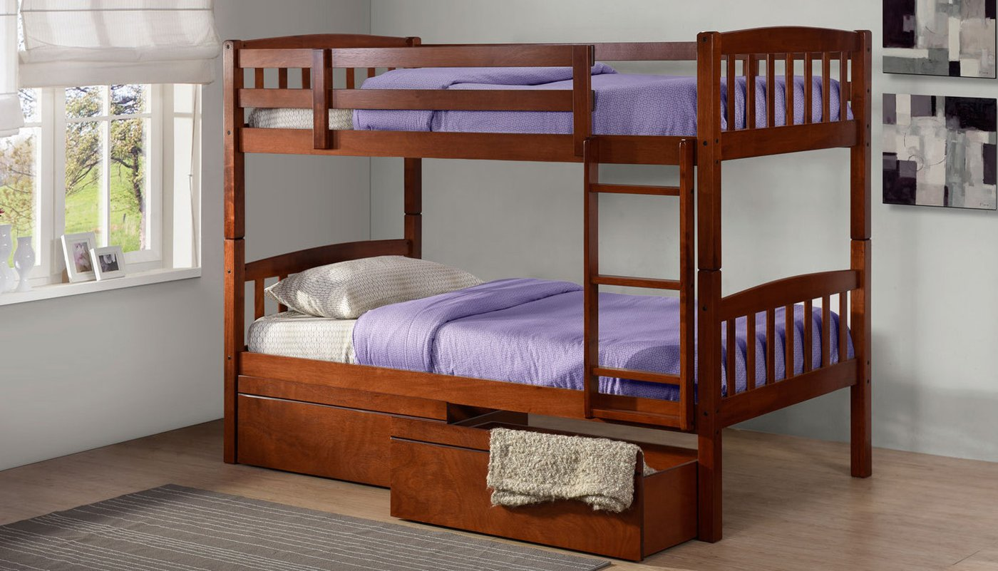 Двухъярусная детская кровать из дуба