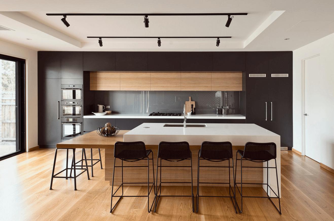 Дизайн кухни с барной стойкой двухуровневой