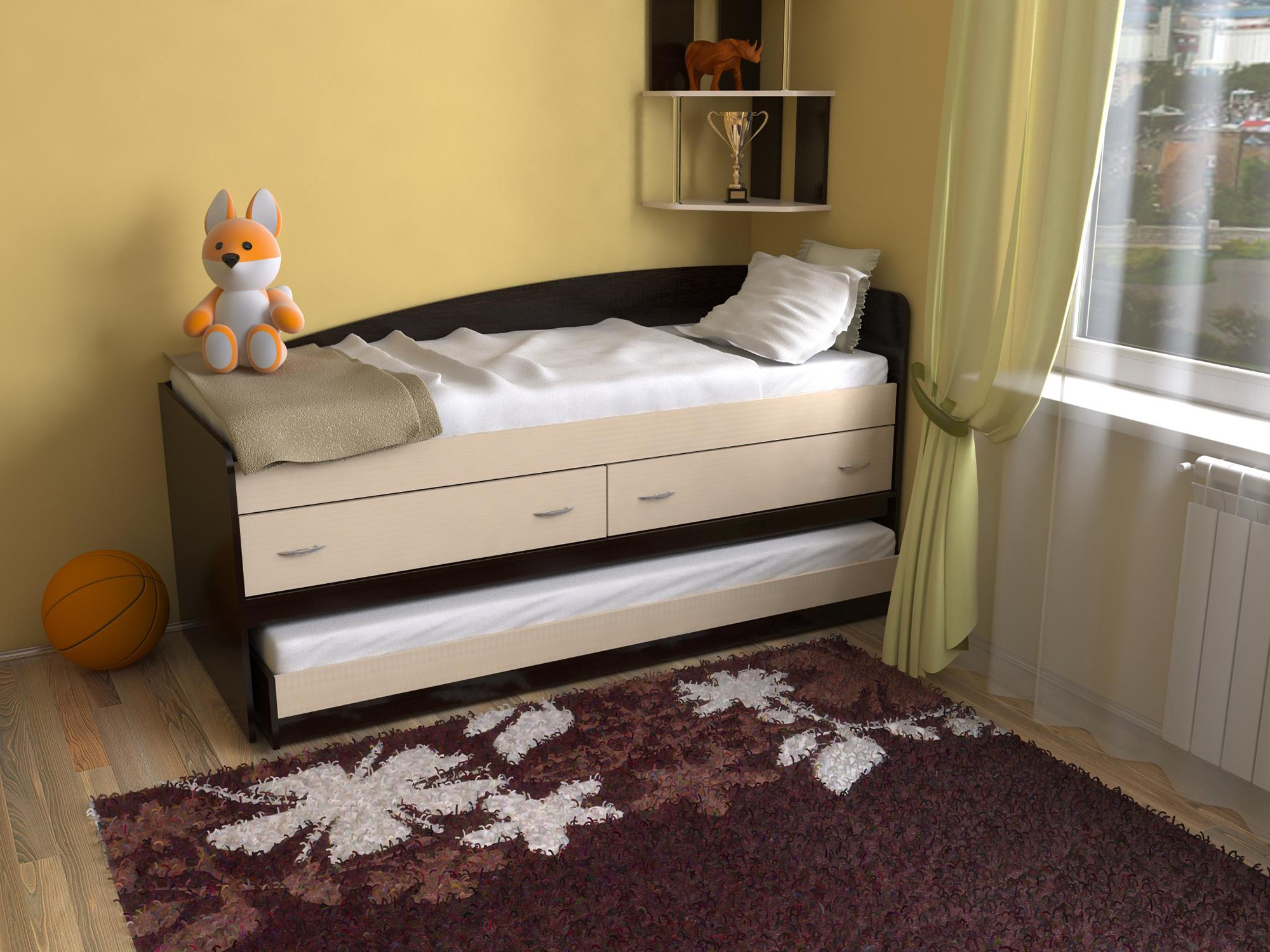 Бежево-черная двухъярусная кровать с ящиками